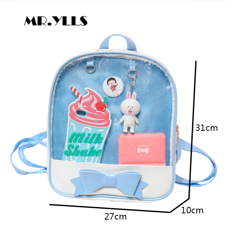 Clear Transparent Women Backpack Cute Bow Ita Bags For School Mini Pink Black Schoolbags For Teenage Girls Fashion Bookbag 2018 #4