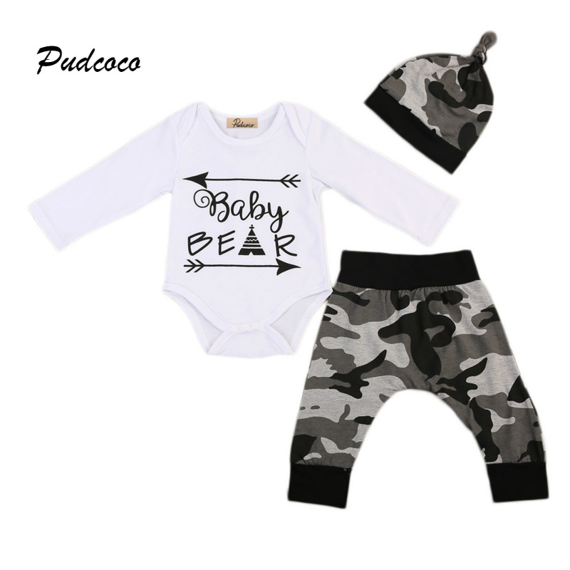 Pudcoco Brand Baby Bear 3PCS Clothing Set Infant Kids Long Sleeve Romper Tops+Camo Pant Hat Outfit Newborn Clothes 0-24M infant baby boy girl 2pcs clothes set kids short sleeve you serious clark letters romper tops car print pants 2pcs outfit set