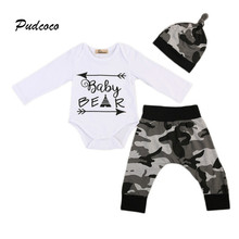 Pudcoco Brand Baby Bear 3PCS Clothing Set Infant Kids Long Sleeve Romper Tops+Camo Pant Hat Outfit Newborn Clothes 0-24M