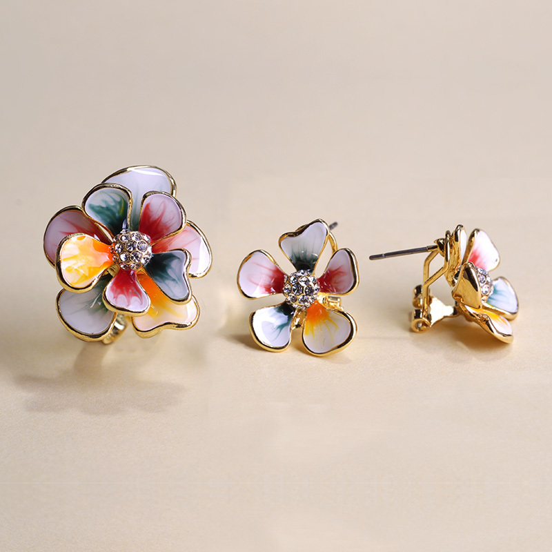 Colorful Flower Jewelry Sets Pink Enamel Stud Earrings Gold color Adjustable Rings Crystal French Hooks Brincos