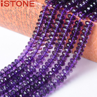ISTONE 4x8MM Natural Synthetic Amethyst Hand Oval Faceted Beads Stone 16 Inch Pick Size Strand For