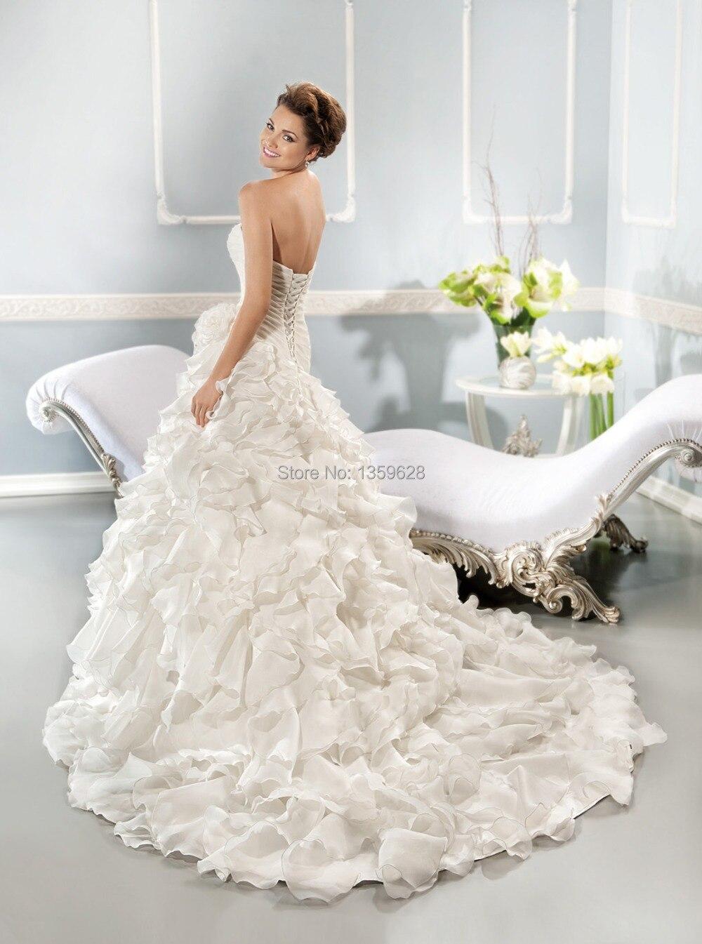 Dt 068 Asymmetrical Pleated Bodice Fashion Fluffy Skirt Wedding