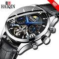HAIQIN простые мужские часы автоматические механические Роскошные брендовые деловые часы черные кожаные спортивные водонепроницаемые мужск...
