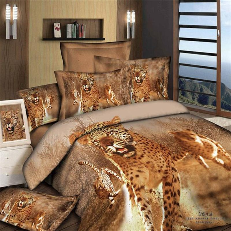 3D Cheetah Animal Printed Bedding Set Queen Size 100 Cotton Living Room Textile Duvet Cover