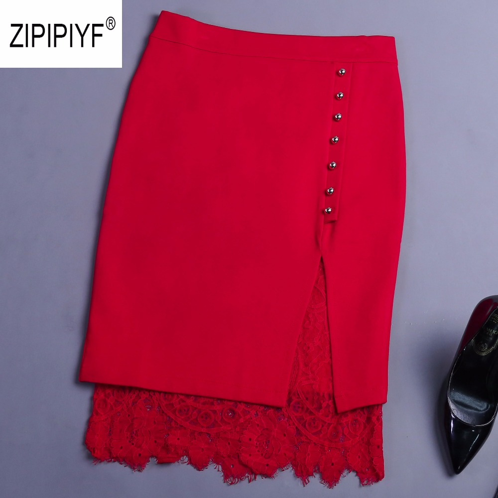Elegant Lace Patchwork Pencil Skirt High Waist Women Single Breasted Spring Skirts Fashion OL Work Slim