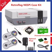 52Pi Retroflag NESPI Case With 16G SD Card Fan 2 Pack SNES Gamepad Power Adapter Heatsink