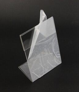 Image 4 - חדש 10 יח\חבילה באיכות גבוהה ברור 6x9cm L צורת אקריליק שולחן סימן מחיר תג תווית תצוגת נייר קידום כרטיס מחזיק מעמד
