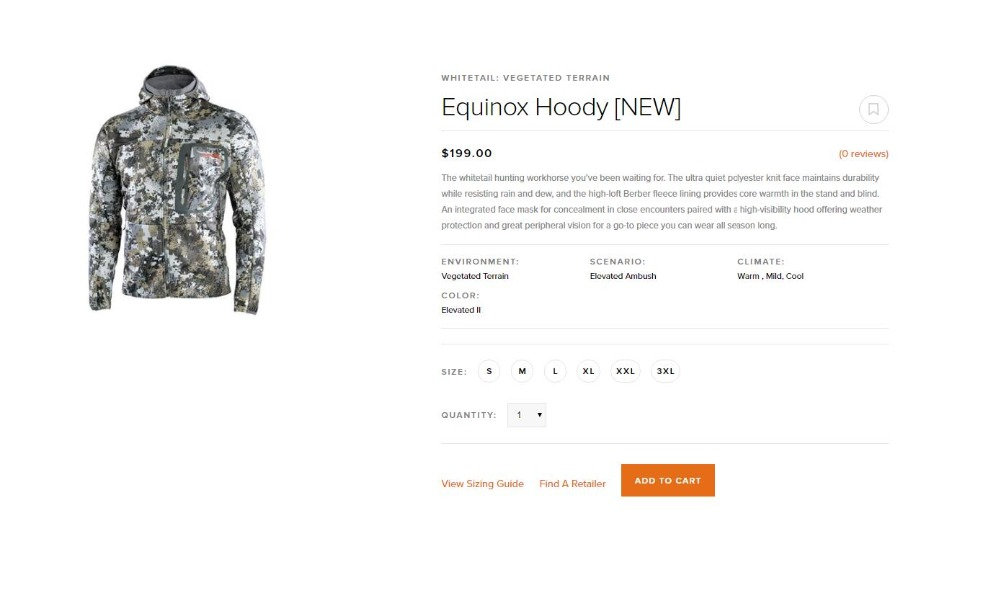 2018 sitex Equinox veste à capuche huting élevé II nouveau sitka