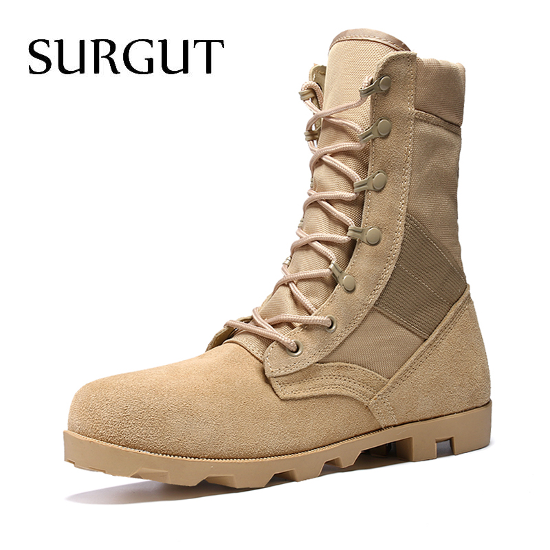 SURGUT Brand Genuine Leather Boots For Male Botas Breathable Fashion Footwear Men Boots Autumn And Winter