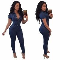 Skinny denim jumpsuit Plus size jeans bodysuit Women Clothing