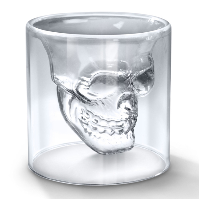 2Pieces Doomed  Skull Shot Mug Glass with Gift Box (2.5 ounces)