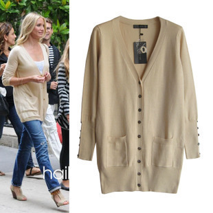 2015 Autumn Winter Knitted Cream Cardigan Long Sleeve Short Coat ...