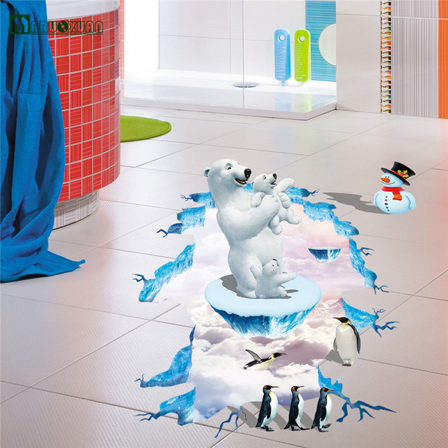Maruoxuan 3d orso polare pinguino piano stickers soggiorno camera ...