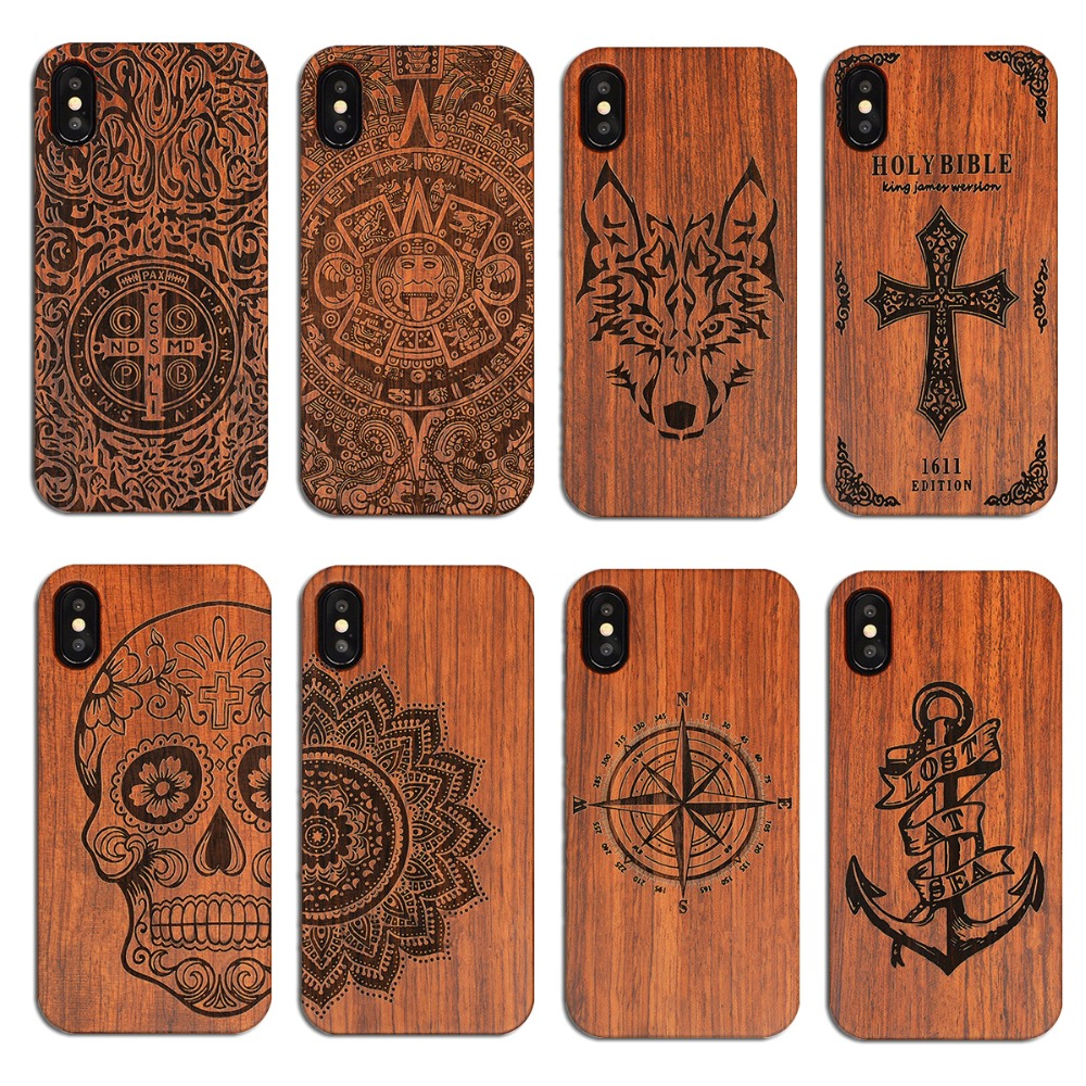Vintage Carving Echt Holz + Kunststoff Fall für iPhone 5 s SE 6 s 6 plus Novetly Protective schutzhülle shell Cases für iPhone XS MAX XR