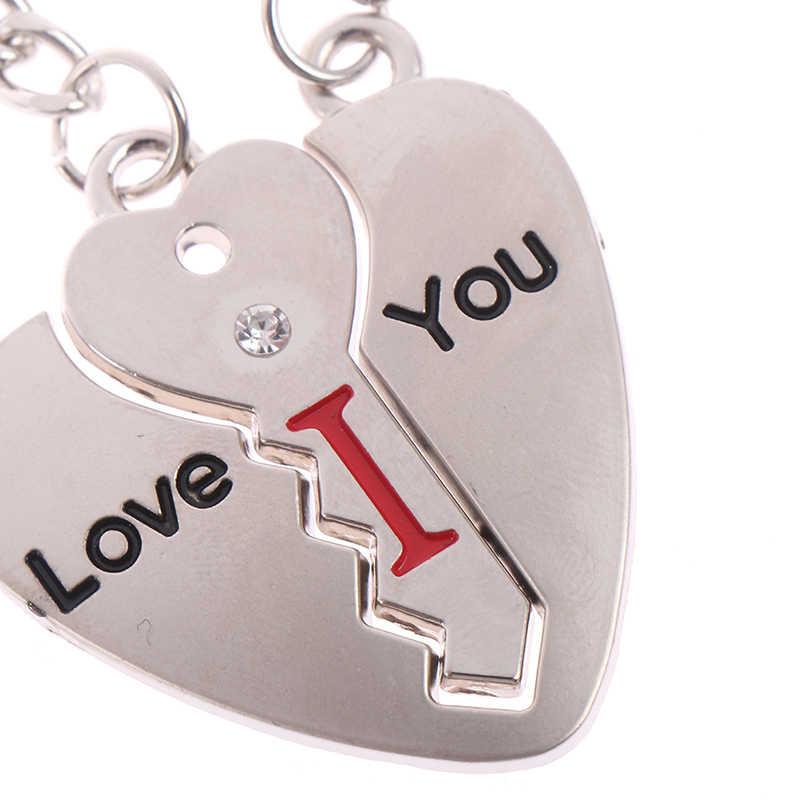 1 זוג מפתח לב מאהב Keychain זוג Keychain Keyring שלט מאהב חג האהבה מתנת לב מפתח טבעת