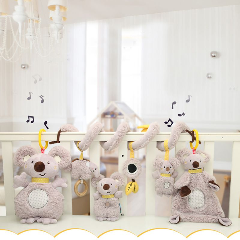 New Baby Toys Rabbit Sleeping Comfort Musical Plush Rattle Toy Doll Multifunctional Appease Towel Saliva Towel Koala Doll Sleep