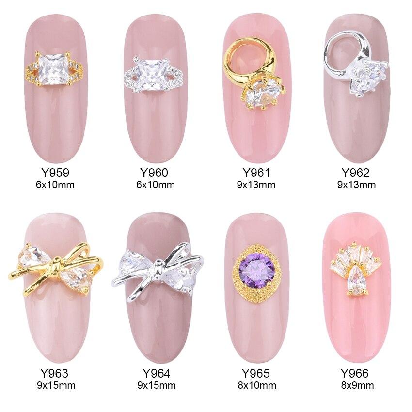 On Sale 10pcs Glitters zircon nail art decorations Square rings ...