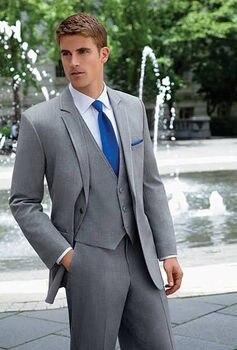 Un botón gris 3 piezas trajes de hombre Slim Fit Peaked solapa esmoquin trajes de boda
