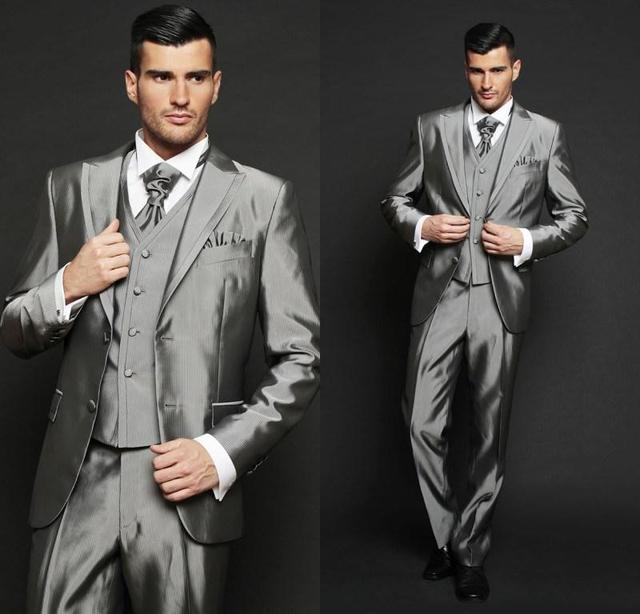 The most popular handsome groom dresses, silver grey suit ...