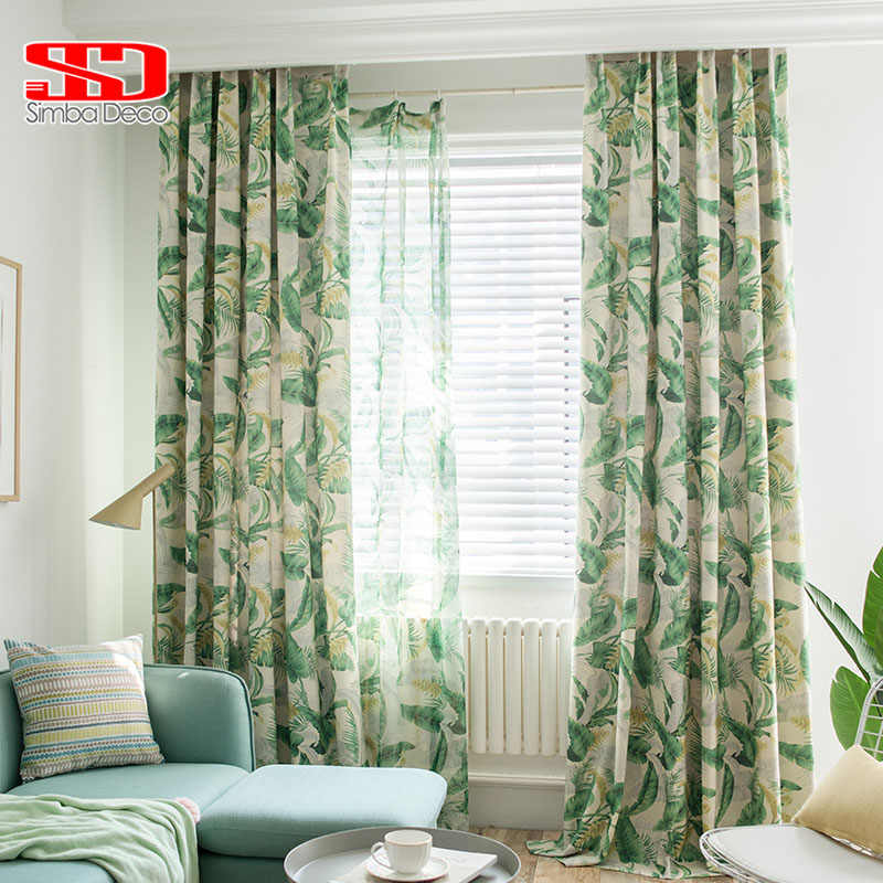 American Printed Cotton Curtains for Living Room Green Banana Leaves Tulle Veil Liner Cortinas for Bedroom Screen Single Panel