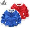 Розничная 2-8 лет пальто сплошной цвет полный рукава Бейсбол одежда cool kids дети весна осень осень