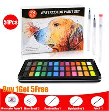 51Pcs 36 Color Solid Watercolor Paint Set With Water Brush Pen Professional Water Color Pigment Painting for Painter Drawing Art