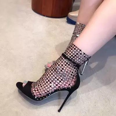 Woman Bling Bling Crystal Embellished Peep Toe Sandals Summer Fashion Mesh Hollow Out High Thin Heel Party Shoes High Quality portable cosmetic bag suitcases makeup beauty professional multi function cosmetology tattoo eyebrow teacher manicure case
