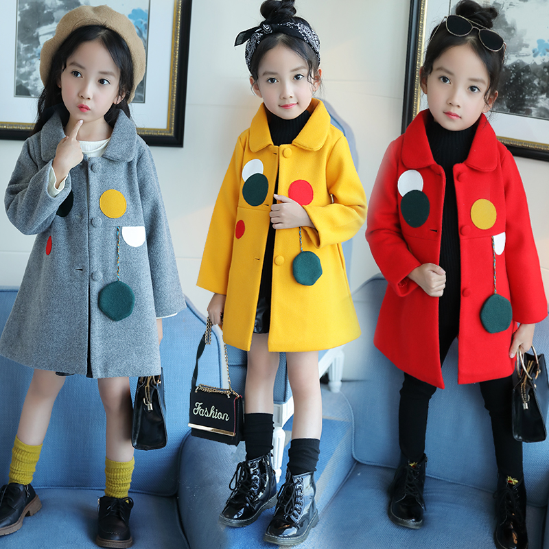 Children Girls Spring Autumn Coats New 2018 Fashion Brand thick woolen Baby Jacket Solid Casual Polka Dot Kids Clothes Outwears