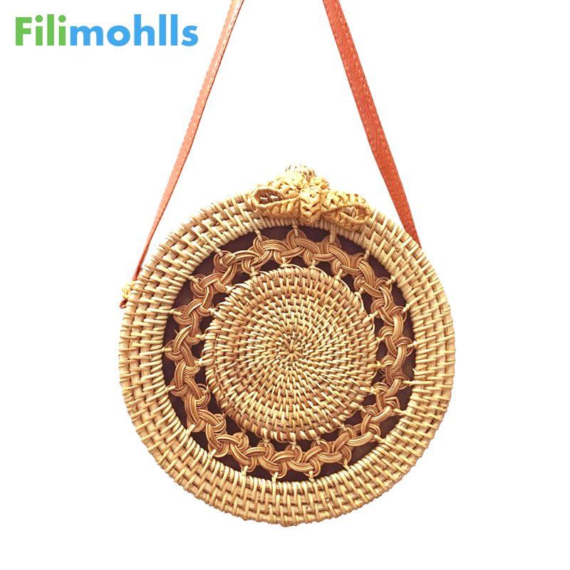 Summer Vintage Straw Bag Handmade Crossbody Bags Bohemian Bali Rattan Bags for Women 2018 Small Circle Beach Handbags S1502