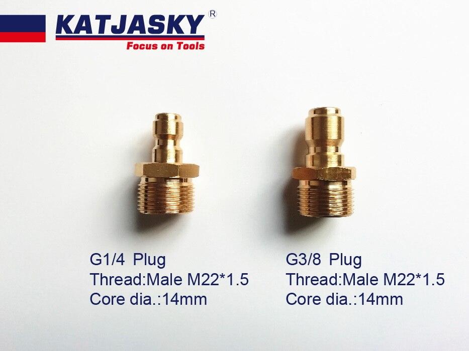 1/4  Or  3/8 Quick Release Plug  For Coupler 100% Copper, Male Thread M22*1.5, Core Dia.:14mm