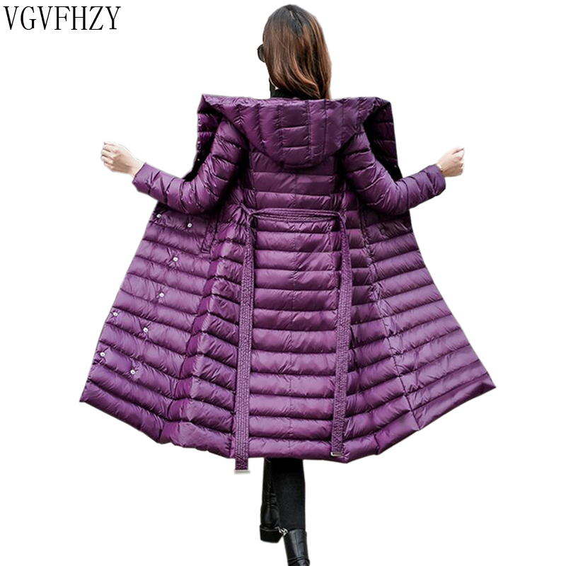 2018 Winter White Duck   Down   Jacket Women Vintage A line Overcoat Ultralight   Down     Coat   Female Long Windproof Solid Belt Parka