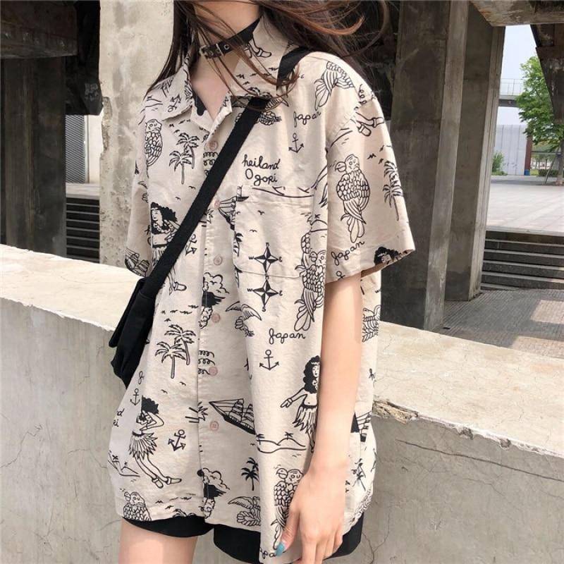 Summer Ulzzang Loose Vintage Short Sleeve Shirt Women's Summer Shirts Kawaii Retro Lovely Female Harajuku Japan Top For Women