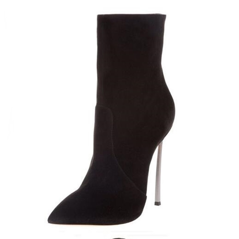 Stylish Black Suede Mid-calf Boots Sexy Siver Blade Heels Women Boots Pointed Toe Side Zipper Dress Shoes Free Ship Size 10 double buckle cross straps mid calf boots