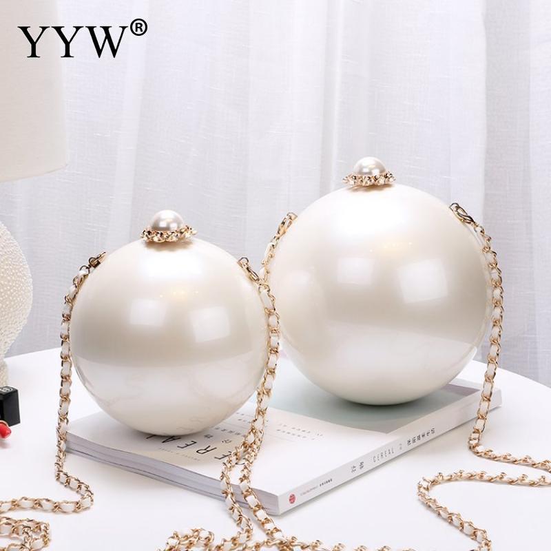 Designer feminino branco bola forma acrílico sacos