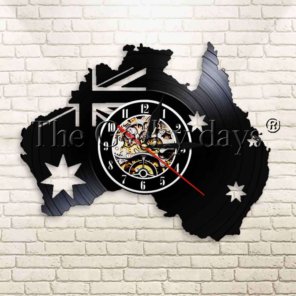 1Piece Australia Map Patriotic Flag Vinyl Record Wall Clock Canberra Melbourne Tourism Wall Watch Decor Art Modern Wall Clock