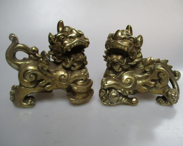 wedding decorations art collection1 pair of chinese brass carved unicorn statue animal sculpture christmas