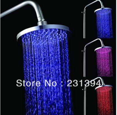 CY8030-A2 vente en gros et au détail de luxe 3 couleurs capteur de température Chrome laiton LED tête de douche carrée de pluie sur le pulvérisateur de douche