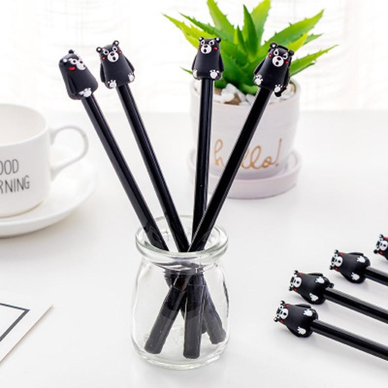 1pcs Bear Gel Pens 0.5mm Kawaii Pen Novelty Stationery Cute Pens Student Black Writing Gel Pen Stationery Kawaii School Supplies