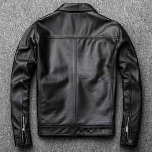 Image 5 - Maplesteed jaqueta de couro vintage masculina, casaco de couro vintage preto de panturrilha natural, vermelho, marrom, outono 100% m141