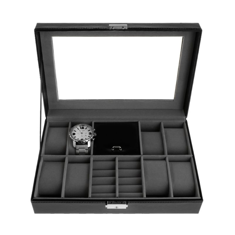 Jewelry Display Container Watch 8+2 Slots Grids For Watches Storage Organizer Faux Leather High End Luxury Case Box