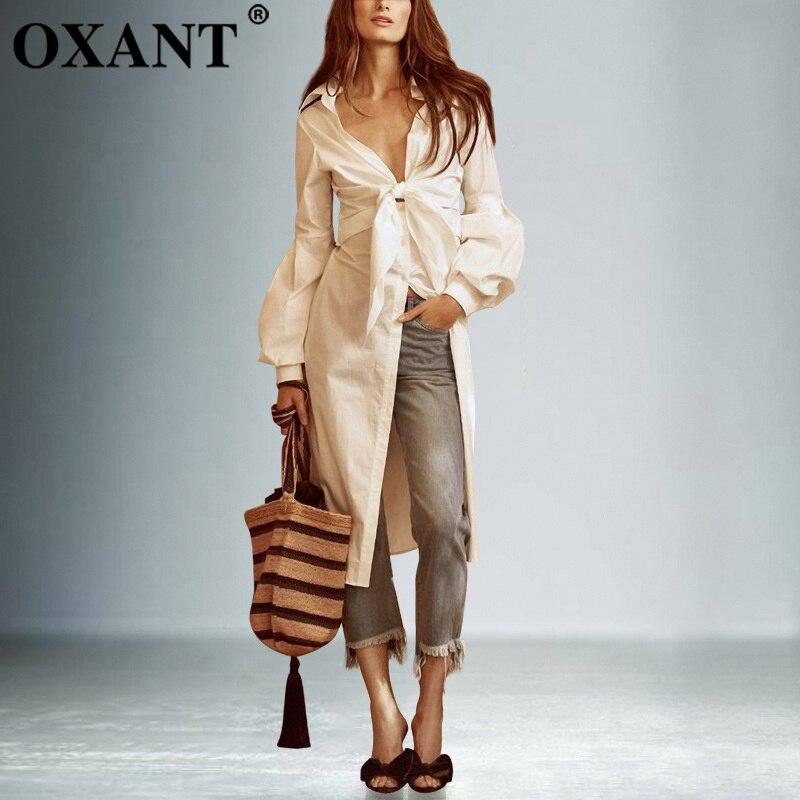 OXANT Bow longues chemises femmes à lacets tunique profonde V Necck lanterne manches blanc chemise 2019 printemps Sexy mode vêtements femmes