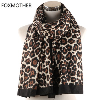 FOXMOTHER New Women Leopard Scarf Brown Animal Print Shawl Scarves Soft Stole Sjaal Muslim Hijab Scarfs Pashminas Ladies галина щербакова метка лилит