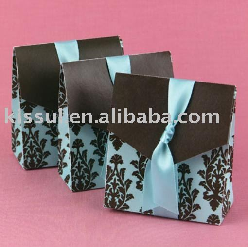 100pcslot Wedding Sweet Box Turquoise And Brown Flourish Favor