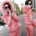 Latest Winter Fashion Women Suits Hooded Vest Long-sleeve Pants Three-piece Suit Big yards Portable Super Warm Cotton Suit G1807