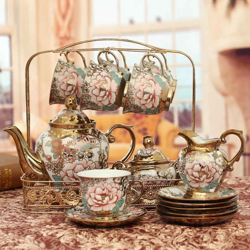 European Style Fashion Ceramic Cup Teapot Fifteen piece Set Home Living Room TV Cabinet Flowers Pattern