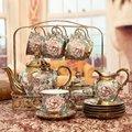 Stile europeo di Modo di Ceramica Tazza Teiera Quindici-piece Set Casa Soggiorno Mobile TV Modello di Fiori Di Lusso Della Decorazione Artigianato