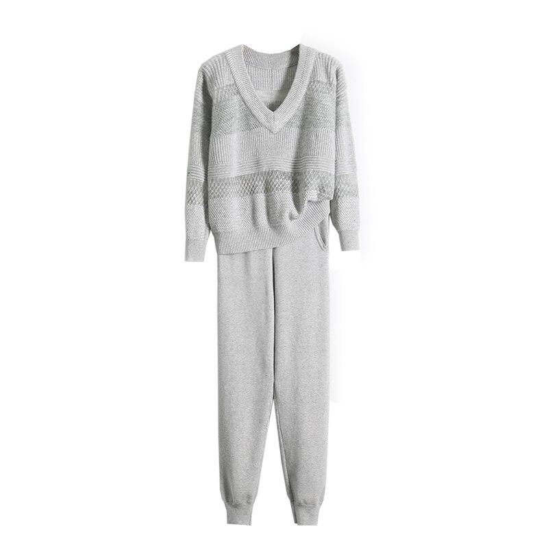 Mode Mohair Cachemire 2018 Femme Femmes Deux Sexy Tricot En Pantalon Ajouré Couture Kaki gris Costume Et Chandail Nouvelle pièce twtXYq