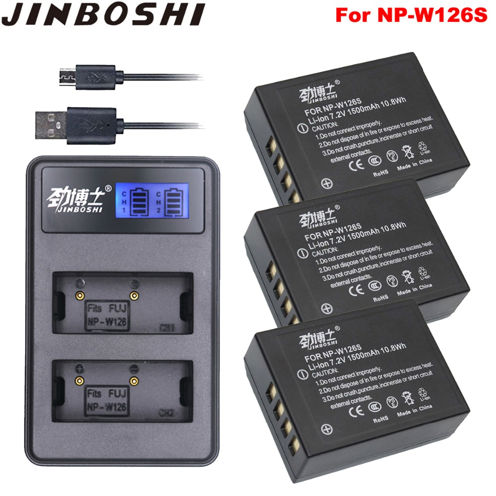 3PC NP-W126S NP W126S Camera Battery & Dual Charger for Fujifilm X-T20 XT20 X100F X-H1 XH1 X-A5 XA5 X-A20 XA20 X-E3 XE3 X-T3 XT3