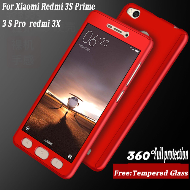 timeless design ae555 c36b5 US $4.96 |Xiaomi Redmi 3S Luxury 360 Degree Protection Mobile Phone Case  For Xiaomi Redmi 3S Prime 3 S Pro 3s Cover Coque + Tempered glass-in Fitted  ...