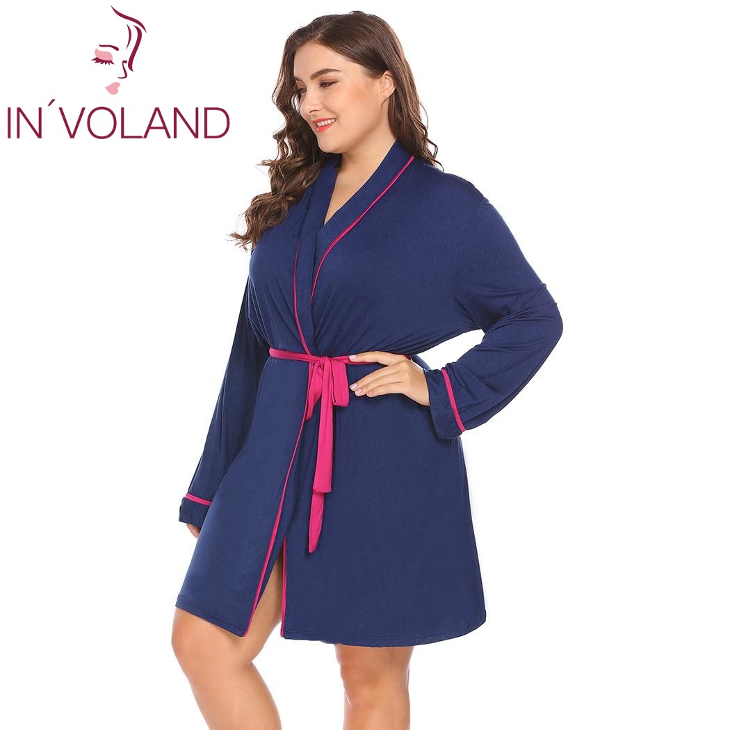 INVOLAND Plus Size XL-4XL Women Sleepwear Robes Soft Hooded Pajamas Lingerie Bathrobe Dressing Gowns Large Lounge Belt Big Size